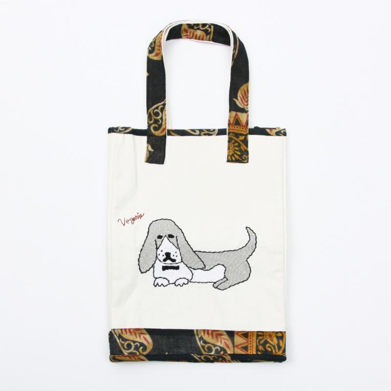 リサイクルサリーを活用したオーガニックコットン刺繍バッグ
