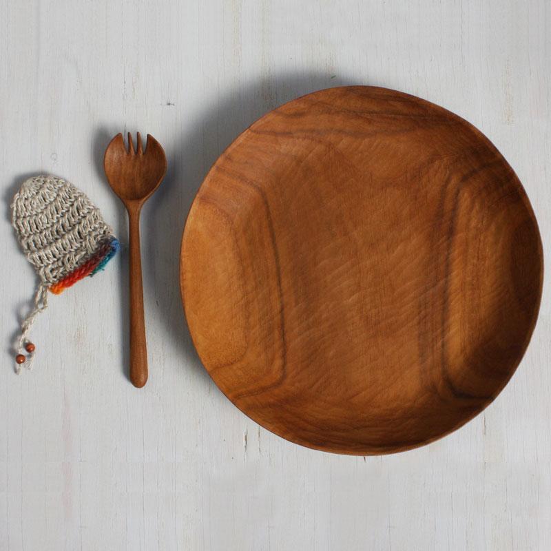 7636手彫りの木のお皿とカトラリーのセット (マイディッシュセット)
